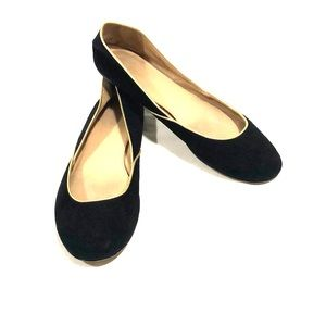 J. Crew Black Suede Ballet Flats w/Gold Piping 9.5